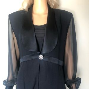 Cache long blazer with sheer sleeves